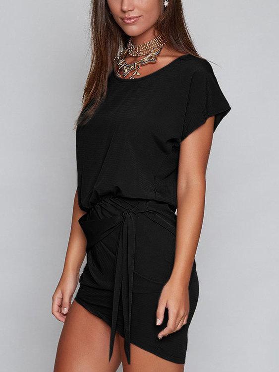 Round Neck Self-tie Design Mini Dresses
