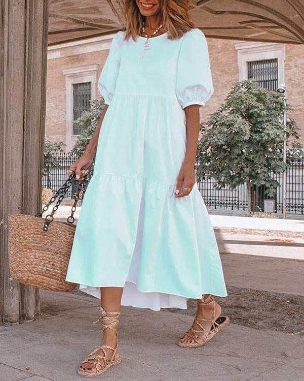 Elegant Paneled Balloon Sleeves Midi Dress