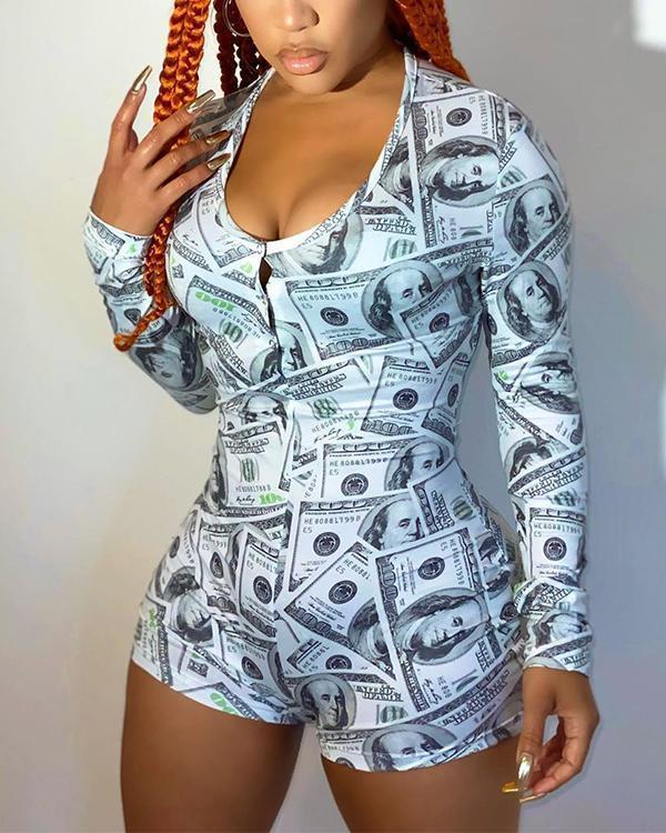 Women Sexy Bodycon Long Sleeve Print Romper