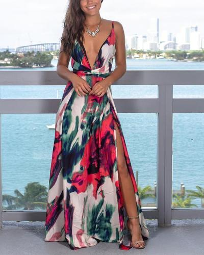 Fashion Strap Floral Print  Colorful Beach Maxi Dress