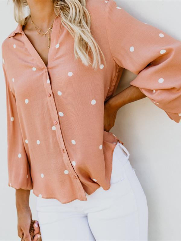 Printed Polka Dot Cardigan Long Sleeve Blouse