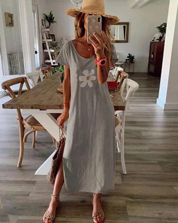 Floral Printed Summer Crew Neck  Maxi Dress Dresses