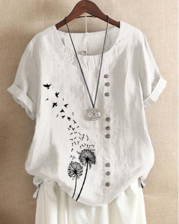 Casual Round Neck Short Sleeve Printed Blouses Tops