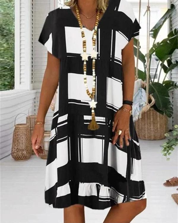Casual Plaid Ruffles V-Neckline A-line Dress