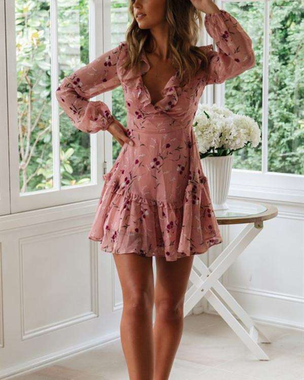 Backless Lace Printed Chiffon Dress with Flounces and Long Sleeves