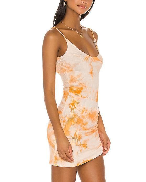 Drawstring Ruched Side Rib-knit Tie Dye Dress