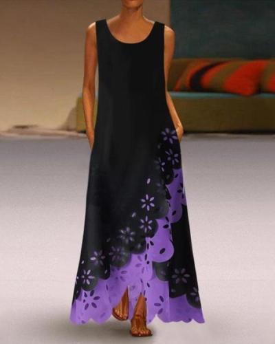 Casual Round Neck Irregular Sleeveless Hollow Out Splicing Dress