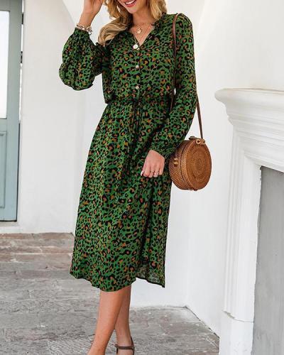 Leopard Print Half Button Blouson Shirt Dress