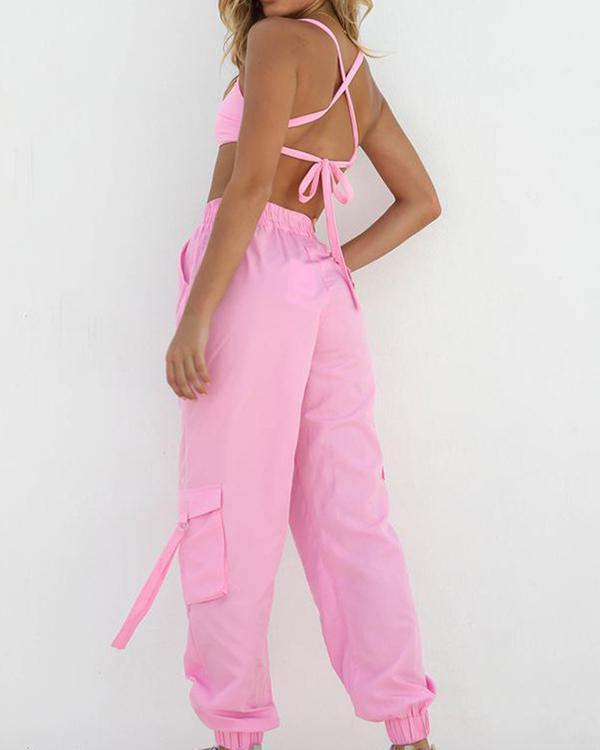 Fashion Streetwear Suits Navel Vests&Cargo Pants