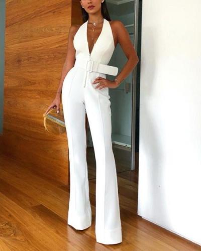 Deep V-neck Belt Halter Jumpsuit