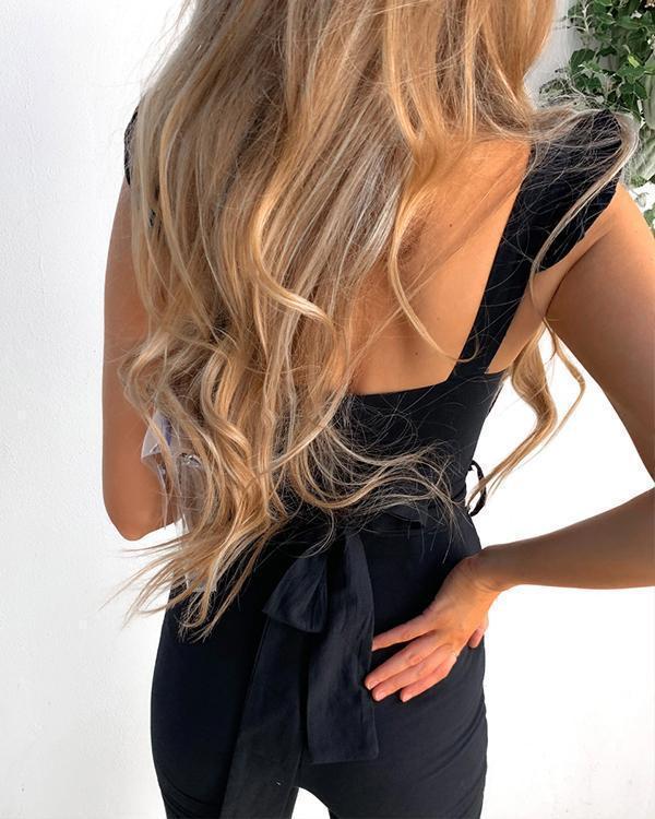 Elegant Simple Tight Fit Square Neck Lace-up Waist Jumpsuits