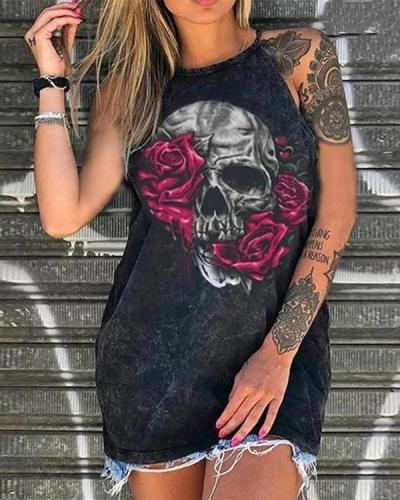 Off Shoulder Skull Print Shirts & Tops