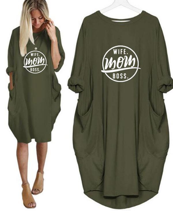 Letter Printed Long Sleeved Irregular Women's Plus Size Dress