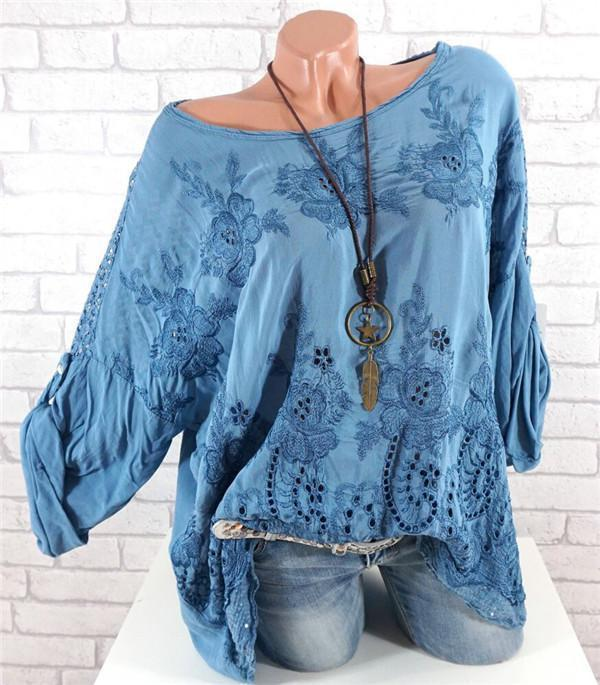 Embroidered Hollow Long-sleeved Blouses Plus Size Tops