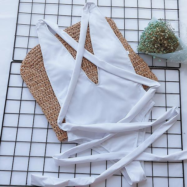 Crisscross Knot Front One Piece Swimsuit