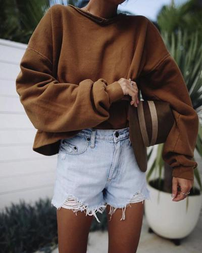 Casual Irregular Ripped Washed Denim Shorts Pants