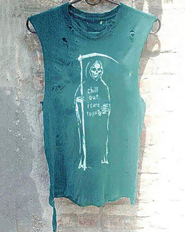 Casual Round Neck Sleeveless Hole Print T-Shirt