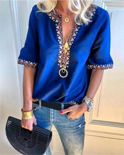 Fashion V-Neck Short Sleeve Casual Shirts Blouses