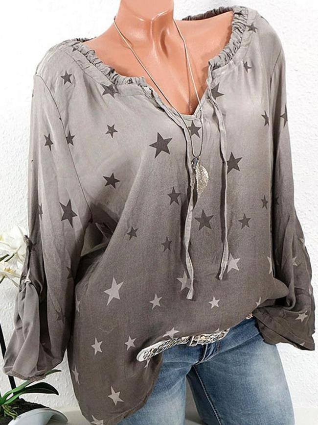 Casual Stars Print Gradient Drawstring Long Sleeve Women's Blouses