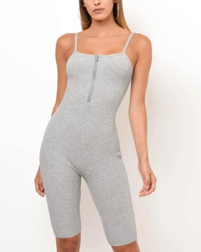 Knit Zippered Front Spaghetti Strap Ribbed Romper