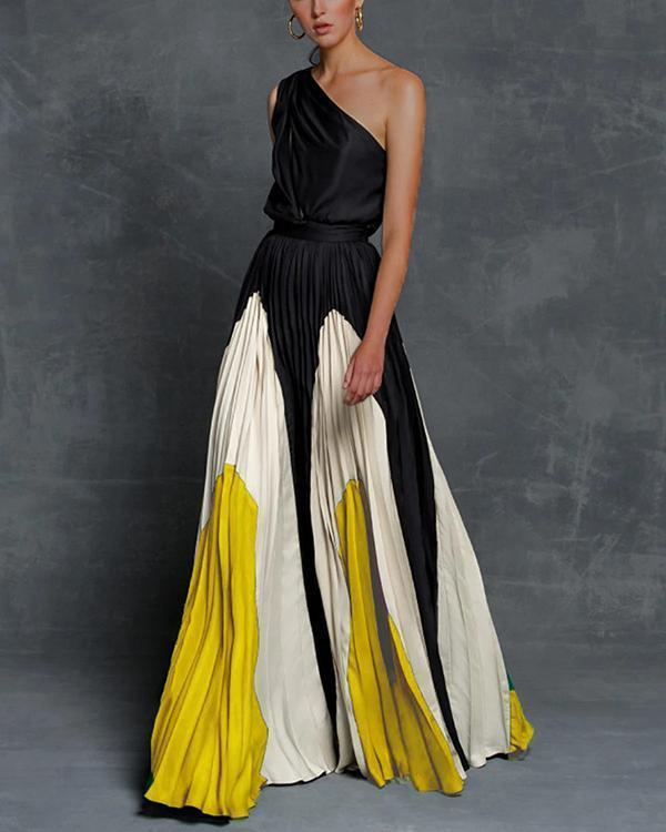 Off Shoulder Color Block Elegant Maxi Dresses