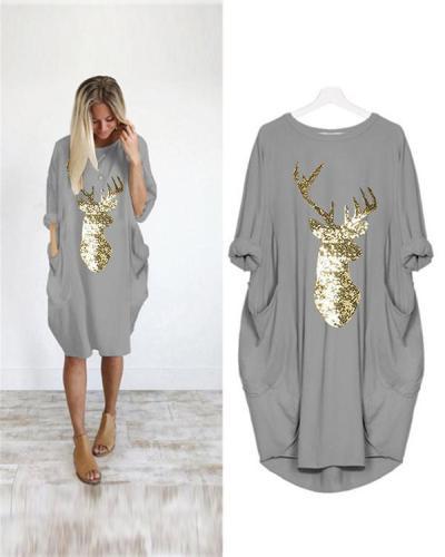 Oversized Long T-Shirt Midi Dress With Pockets