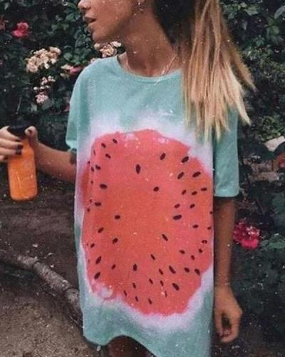Watermelon Tie-dye Printed Casual Long T-shirt