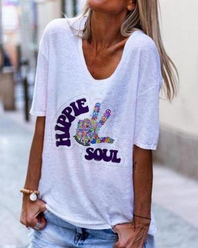 Fashion V-neck Printing Hand Short-sleeve T-shirt