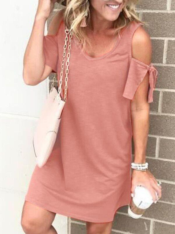 Paneled V Neck Off Shoulder Casual Mini Dress