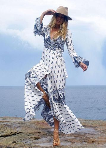 Bohemia Cover Ups Beach Long Sleeve Dress