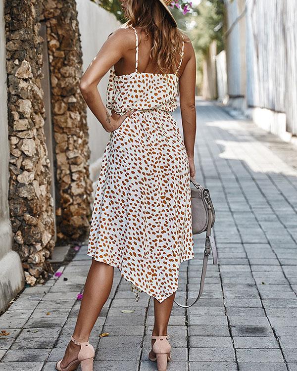 Dot Print Irregular Sleeveless Lace-up Holiday Midi Dresses