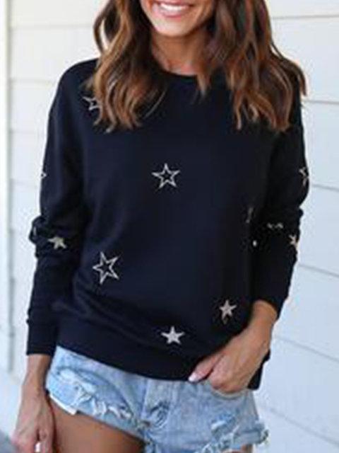 Black Printed/dyed Casual Sweatshirts