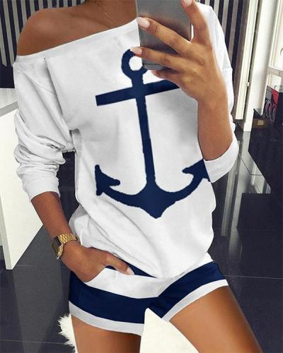 Long Sleeve Boat Anchor Print Striped Top & Shorts Set