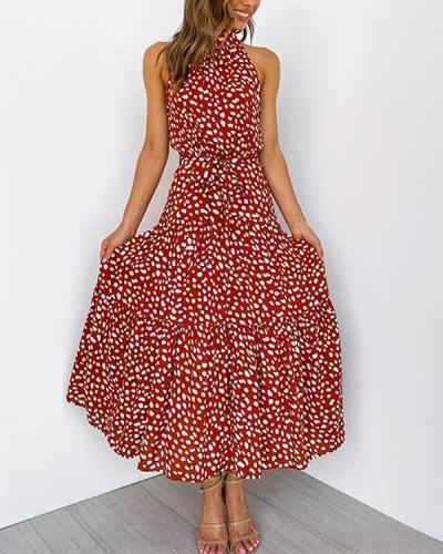 Women Elegant Halter Neck Dot Print Tie Waist Maxi Dress