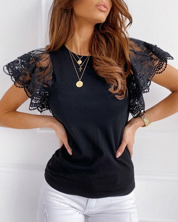 Lace Flounce Sleeve Black and White Solid T-shirts