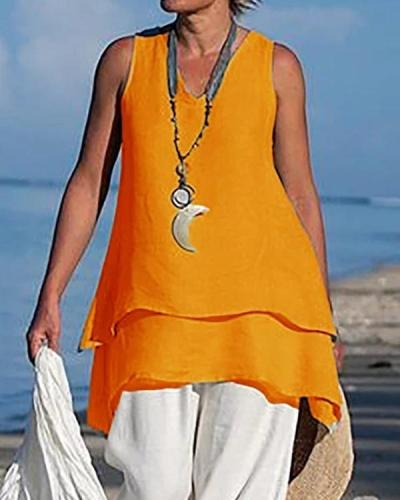 Asymmetrical Plus Size Sleeveless Blouses Casual V Neck Blouse