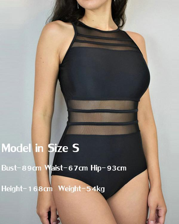 Sexy High Neck Mesh Striped Backless Sexy One Bathing Suit Swimwear
