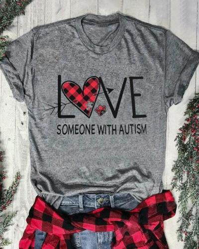 Plaid Printed Love Someone with Autism T-Shirt Tee