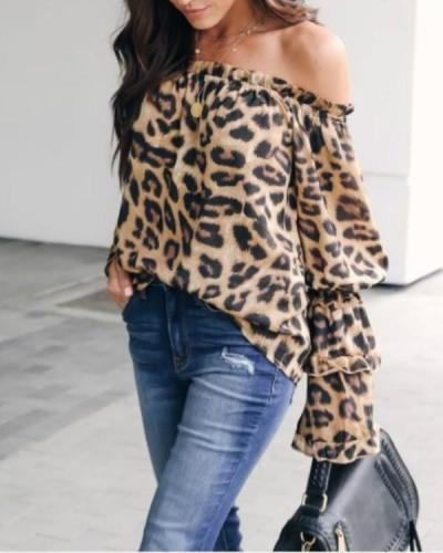 Leopard Printed Off-Shoulder Flare Long Sleeve Sexy Blouses