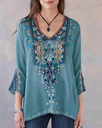 Embroidered V-neck Long Sleeve Vintage Blouse