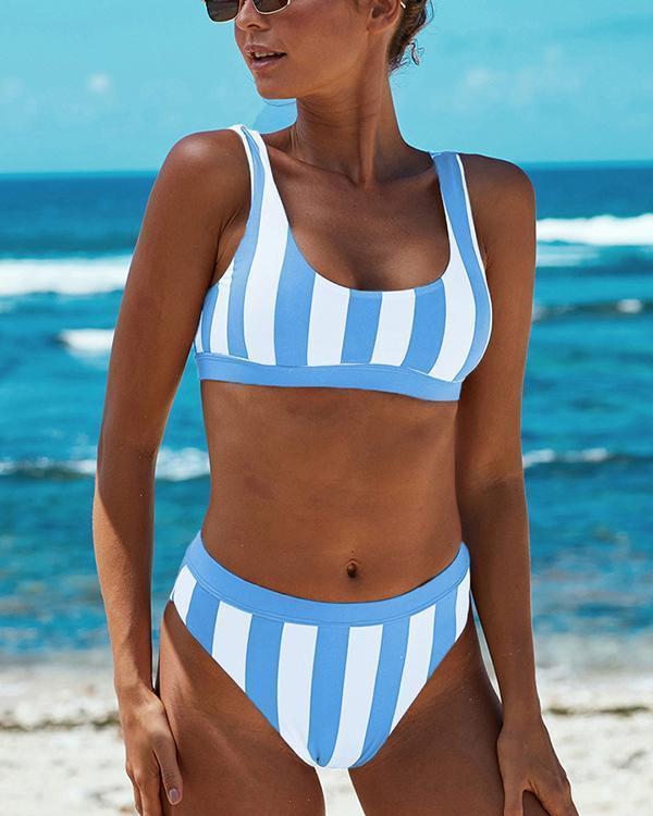 Colorblock Striped Bikini Set