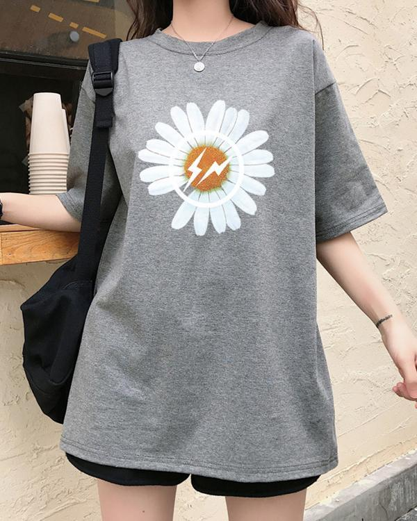 Round neck short sleeve sunflower tee