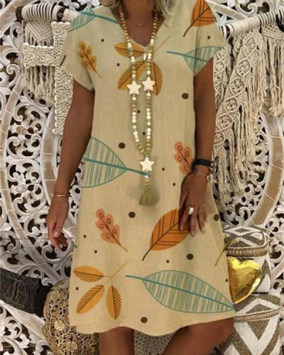Fashion Casual Short Sleeve Printed Plus Size Dress