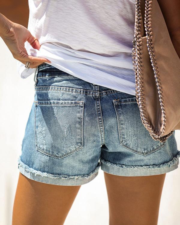 Blue Denim Ripped Casual Pants