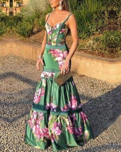Fashion Sexy Floral Plunge Ruffles Layered Hem Evening Dress