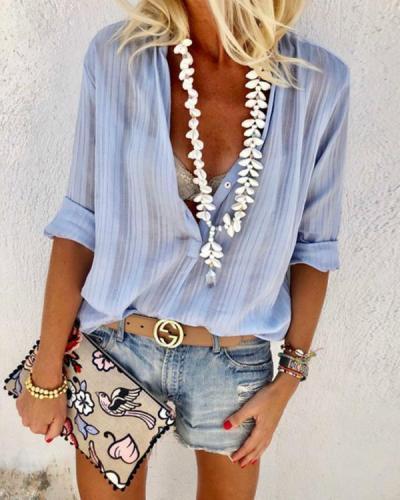 Fashionable Button V Neck Long-Sleeve Blouse