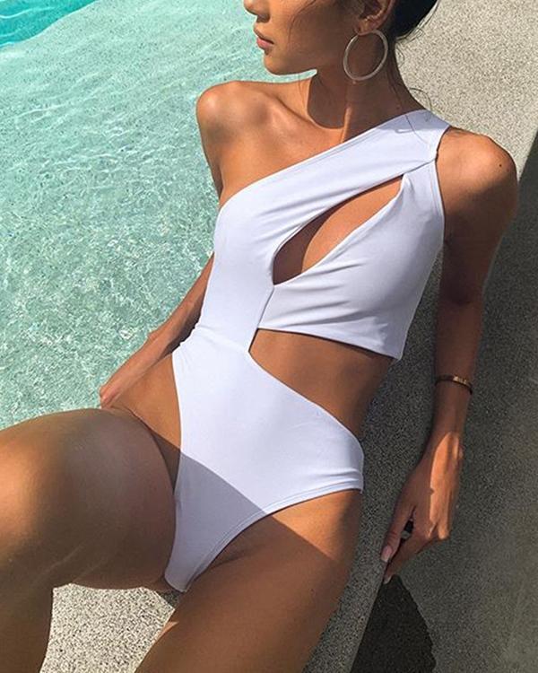 Paneled bikini cutout swimsuit