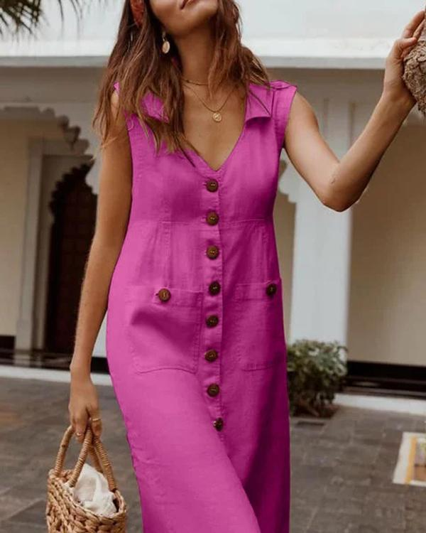 Plus Size Casual Solid Sleeveless V Neck Pockets Midi Dresses