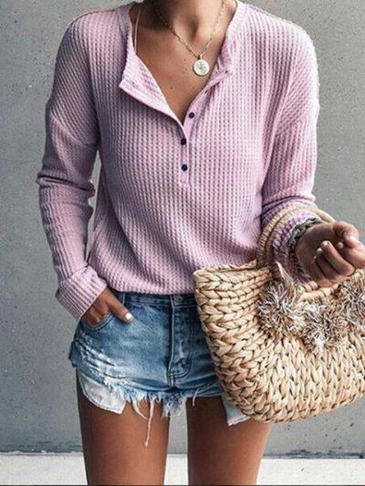 Patchwork Cotton Round Neck Long Sleee T-Shirt