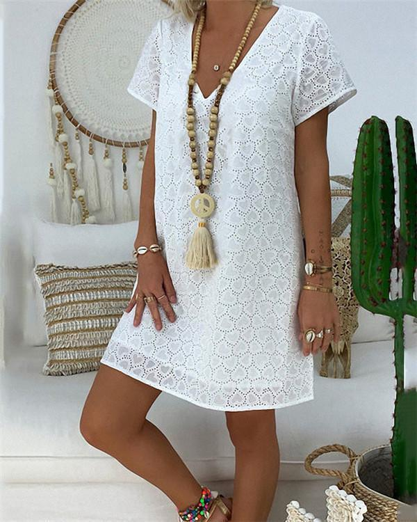 Plus Size Lace V Neck Solid Mini Dress